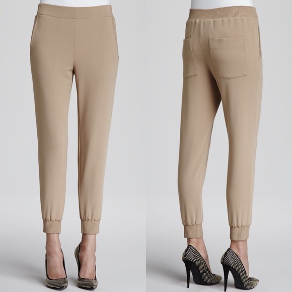 d288862193 Theory Pants | Persha Fitted Ponte Track Natural | Poshmark